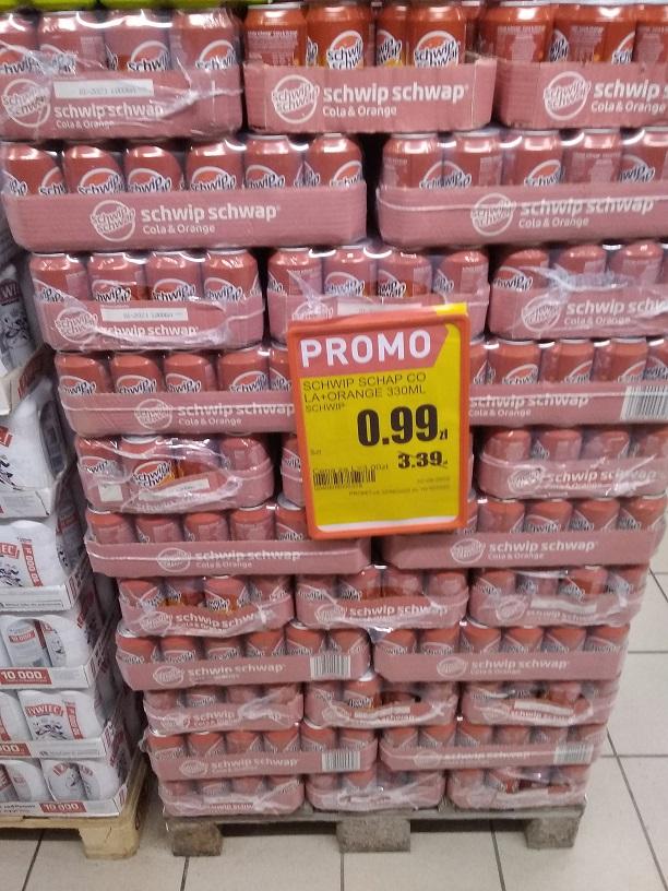 Schwip Schwap (kola z sokiem pomarańczowym) w puszkach 0,33 l (3 zł/l)