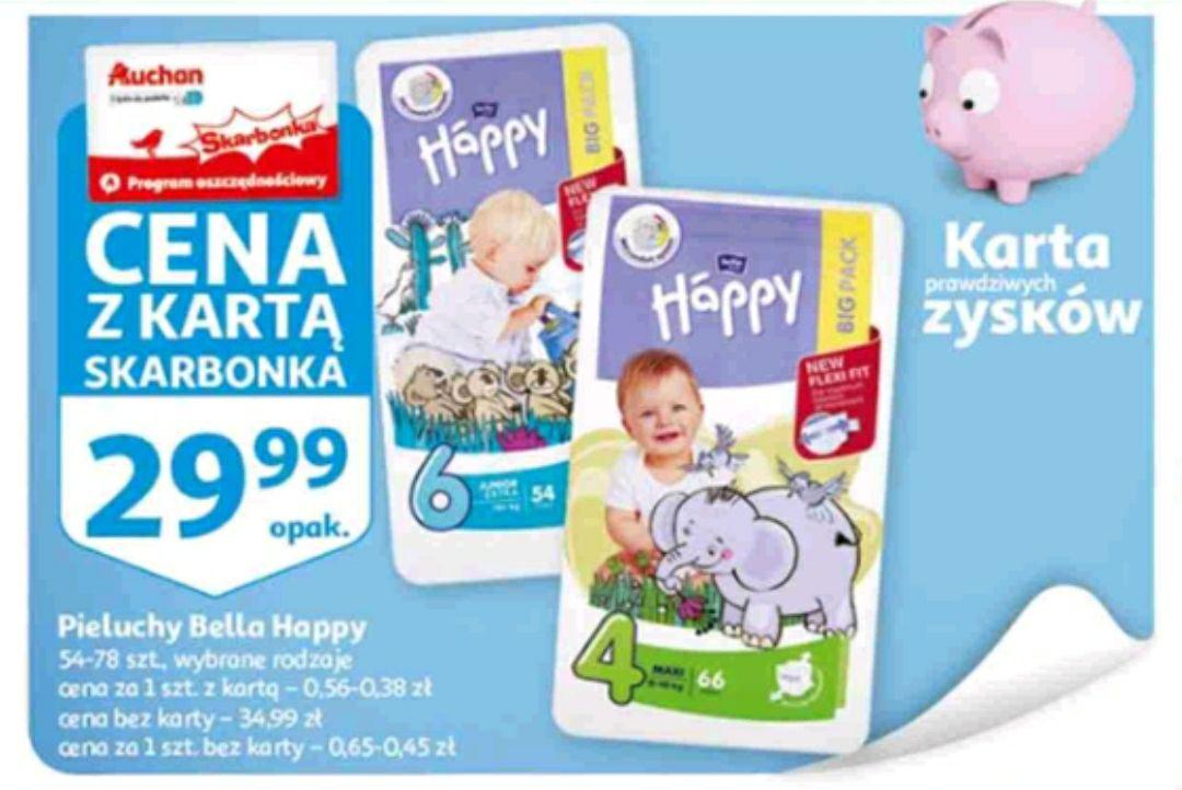 Auchan Skarbonka Pieluchy Bella Happy możliwe 25 zł za opakowanie