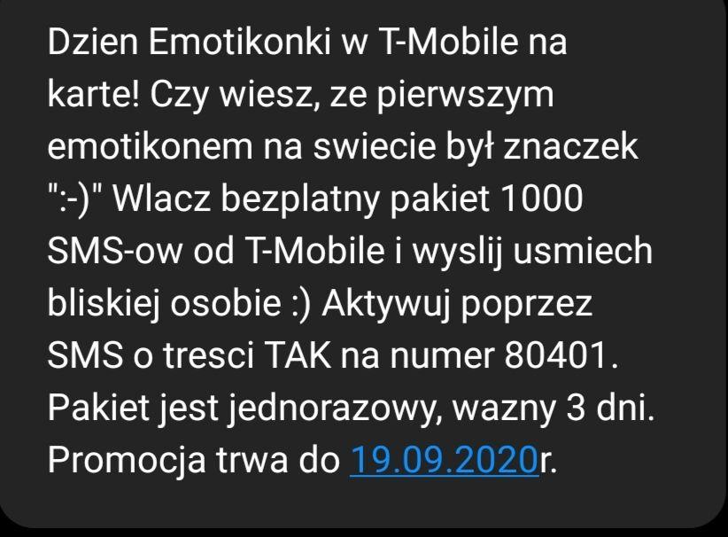 Darmowe 1000 SMS-ów od T-Mobile
