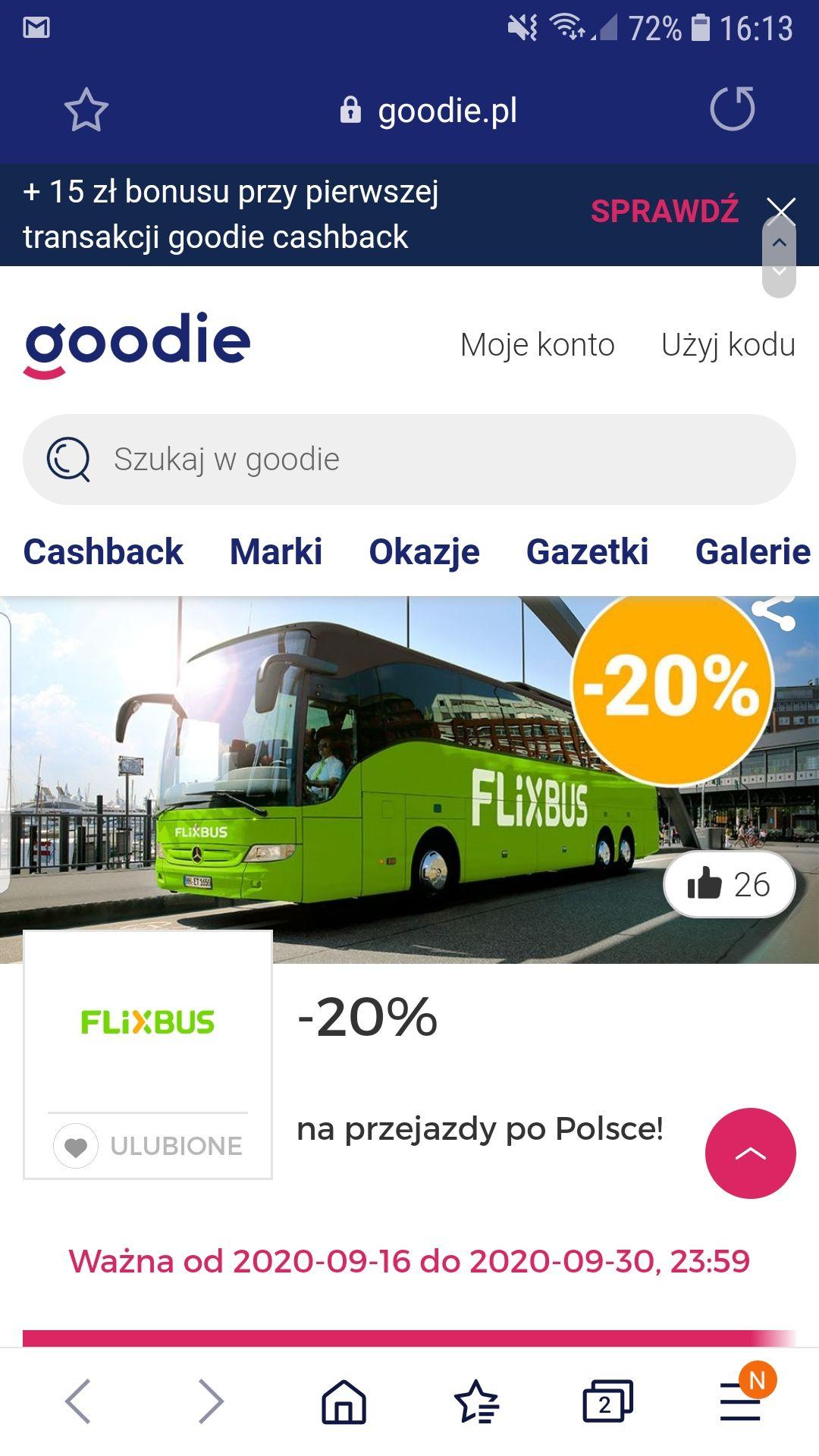 20% Rabatu na przejazdy krajowe FLIXBUS w Goodie