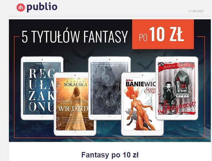 5 ebooków fantasy po 10 zł