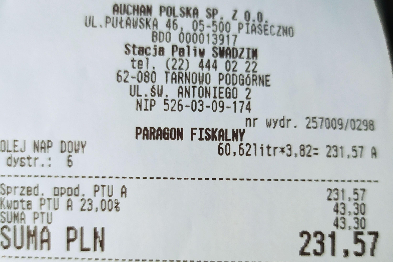 ON Olej Napędowy Auchan Swadzim 1litr