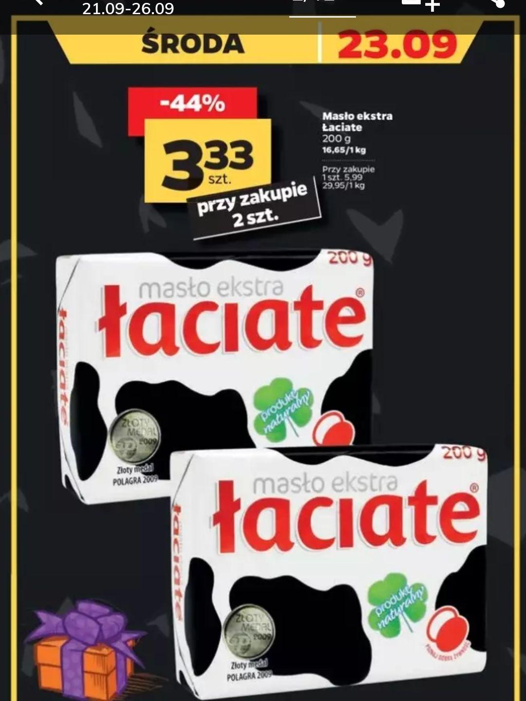 Masło ekstra Łaciate 200g w Netto. Cena przy zakupie dwóch.