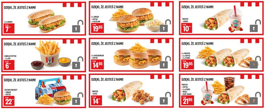 9 dodatkowych kuponów dla użytkowników aplikacji KFC POLSKA
