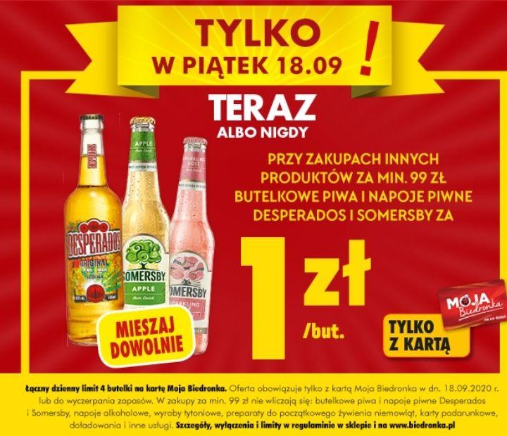 Piwa Desperados oraz Somersby za 1 zł przy zakupach za 99 zł. 4 max na kartę - Biedronka