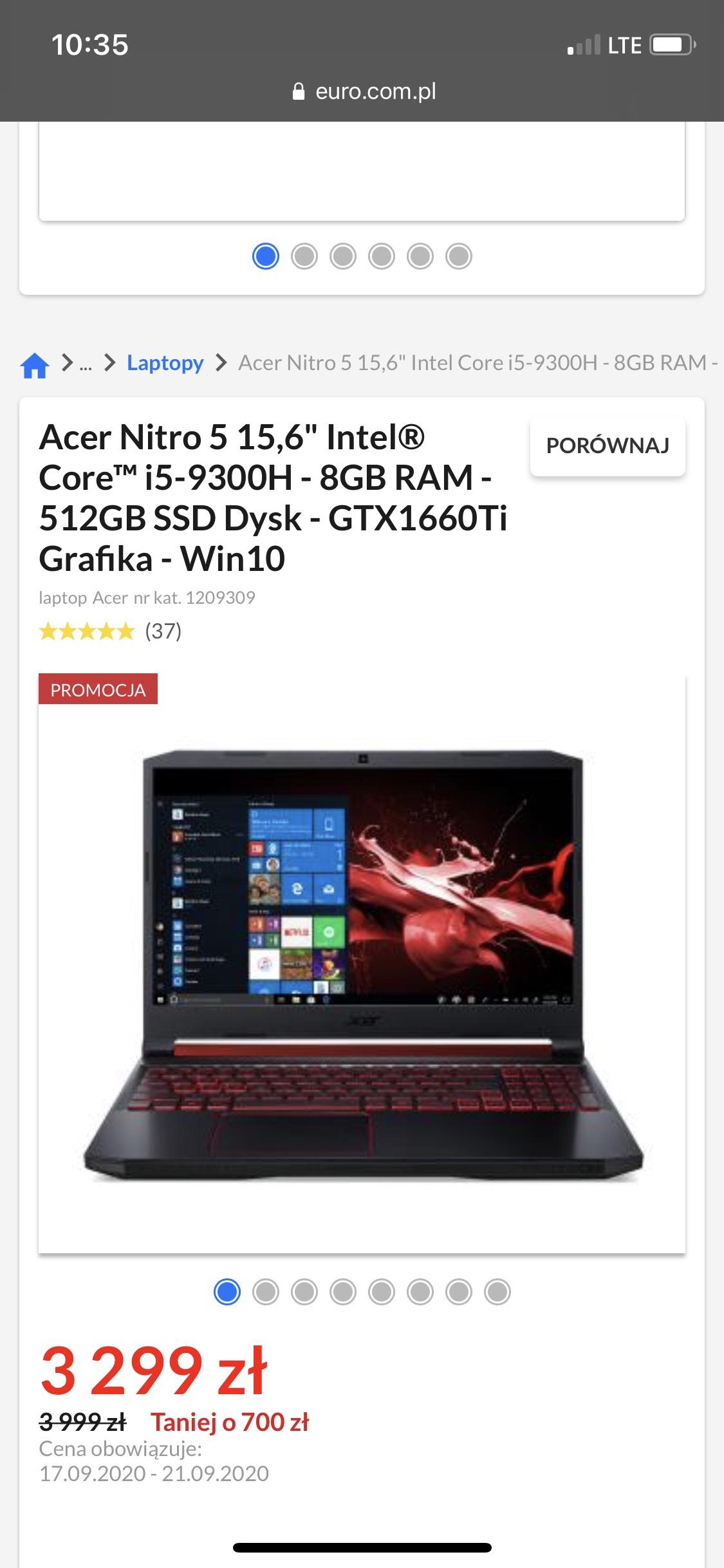"Acer Nitro 5 15,6"" Intel® Core™ i5-9300H - 8GB RAM - 512GB SSD Dysk - GTX1660Ti Grafika - Win10"