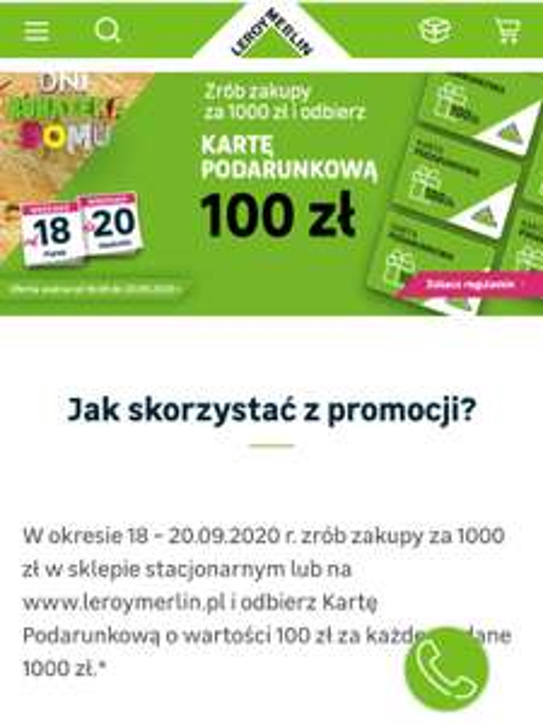 Karta podarunkowa 100PLN za każde 1000 PLN @Leroy Merlin