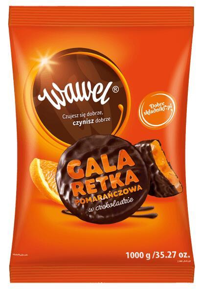 Galaretka pomarańczowa w czekoladzie Wawel 1kg LIDL