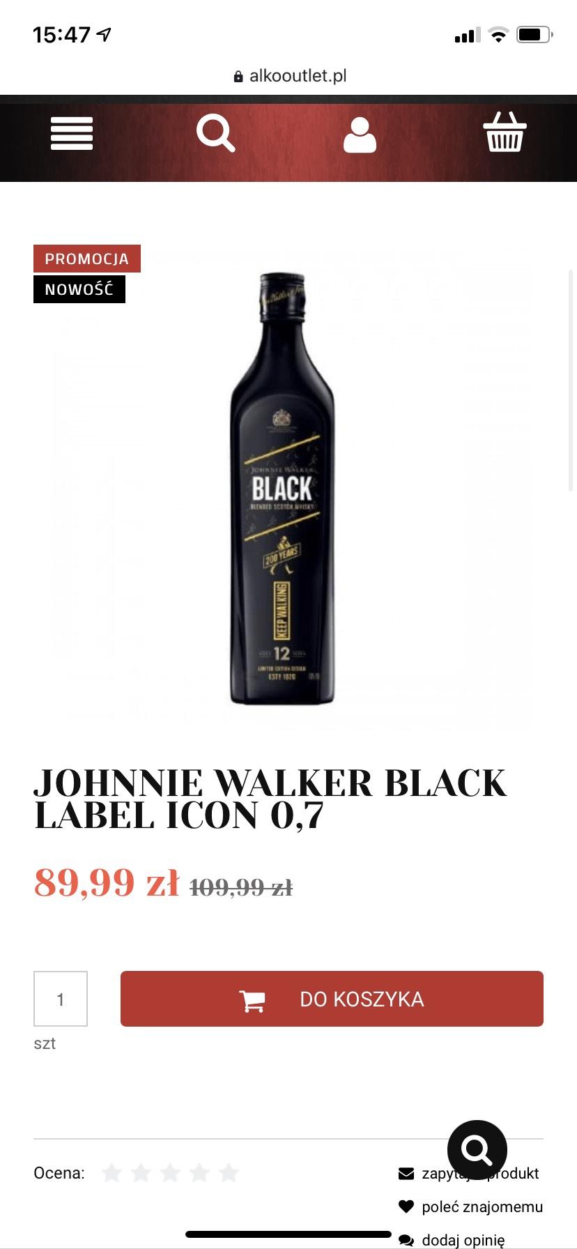 Limitowana edycja whisky Johnnie Walker Black label 0,7
