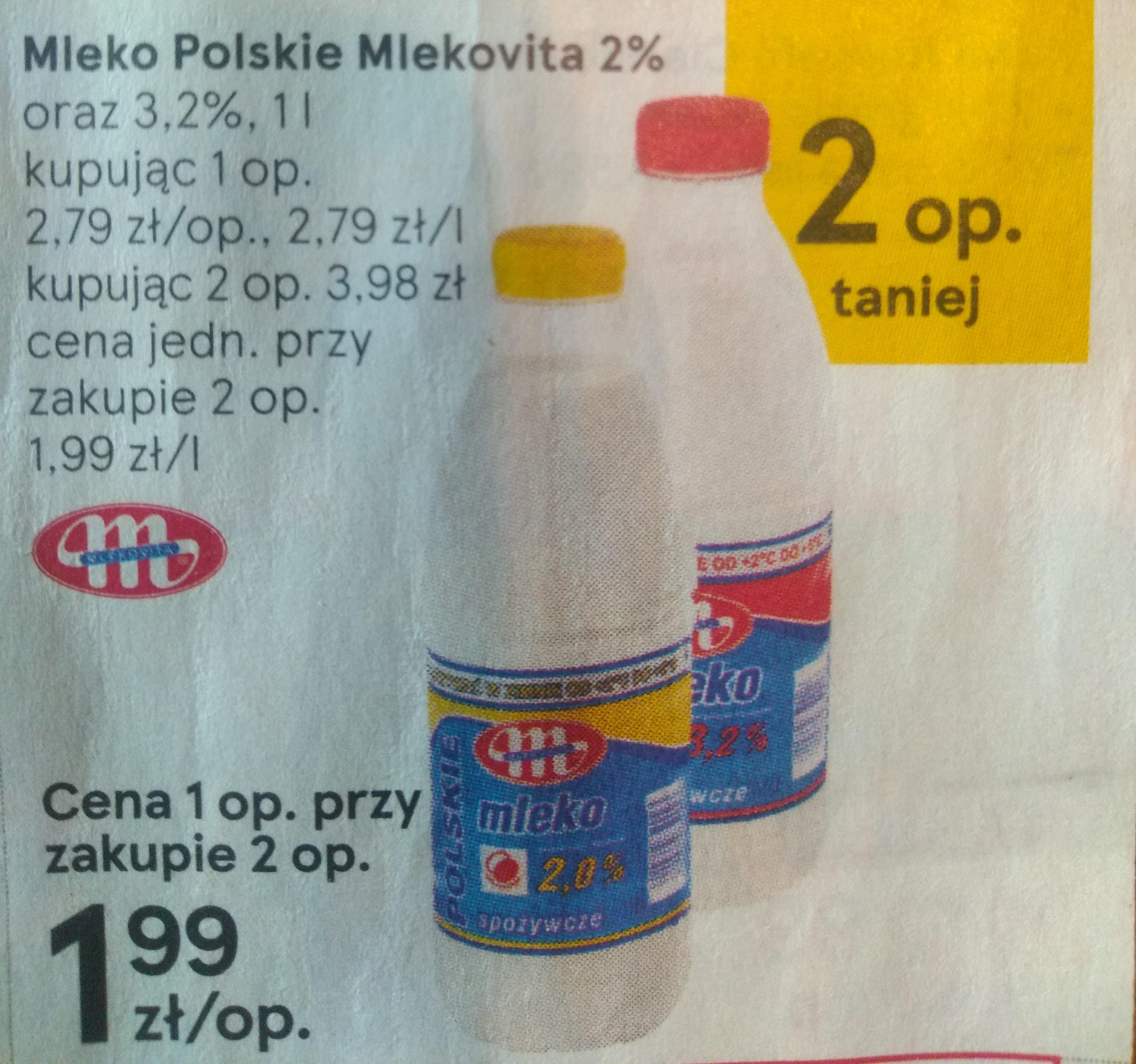 Mleko Polskie Mlekovita 2 i 3,2% - Tesco przy zakupie 2szt