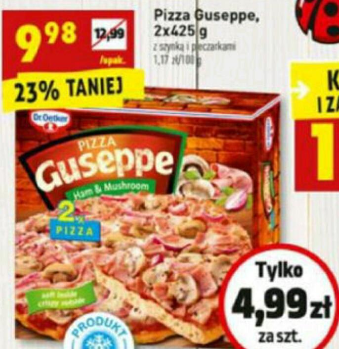 Pizza Gusseppe 2x425g c.d. tym razem szynka i pieczarki 9.98zł BIEDRONKA