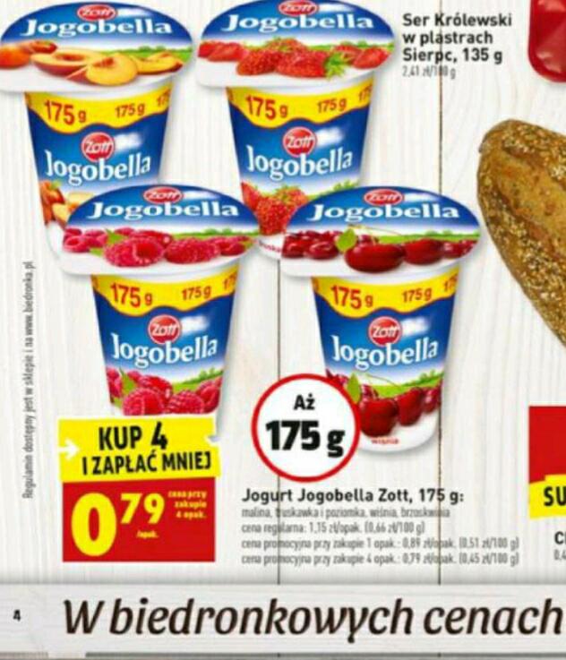 Jogurt Zott Jogobella 175g przy zakupie 4 szt. 0.79zł BIEDRONKA