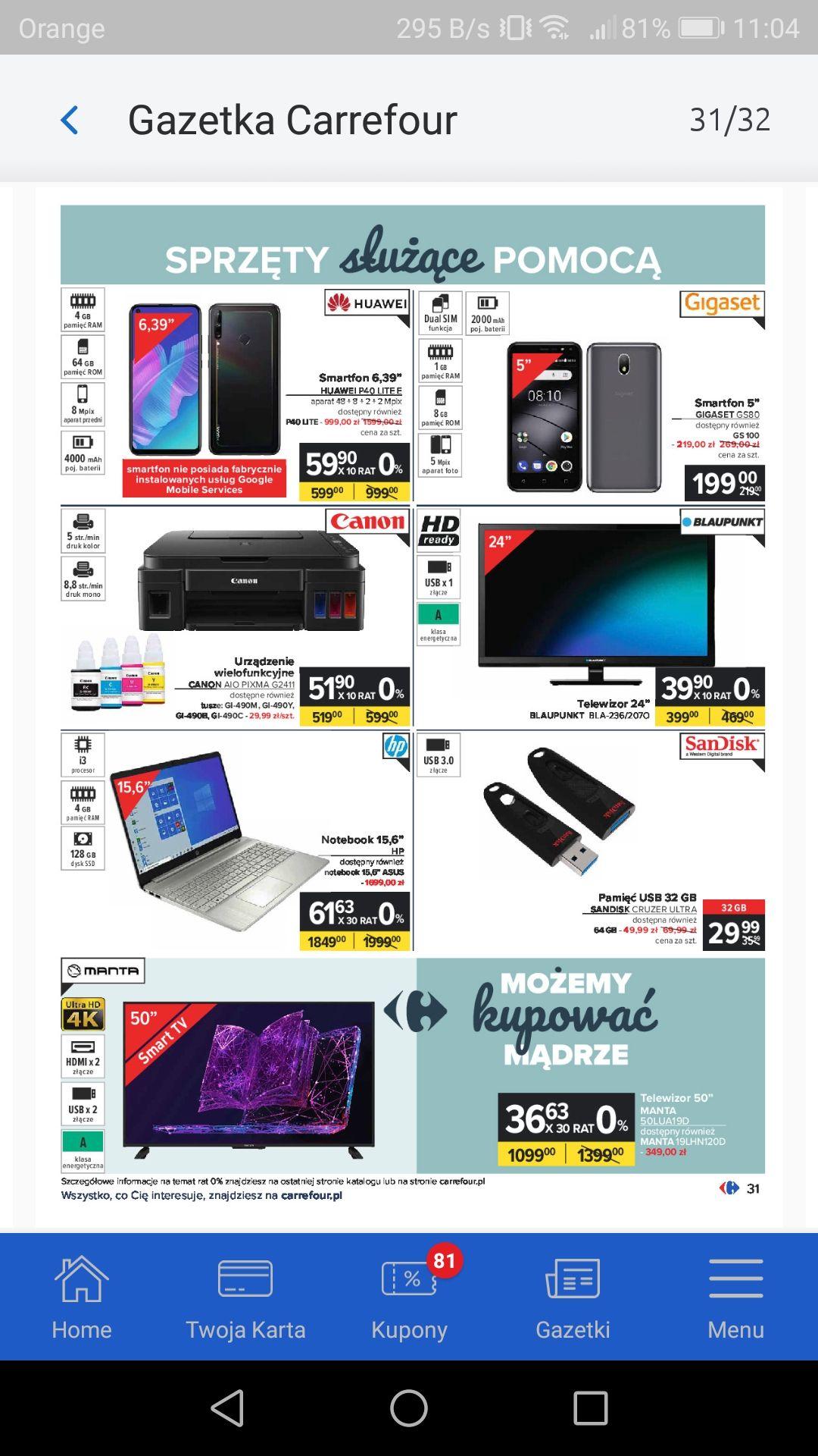 Huawei P40 LITE E Carrefour gazetka
