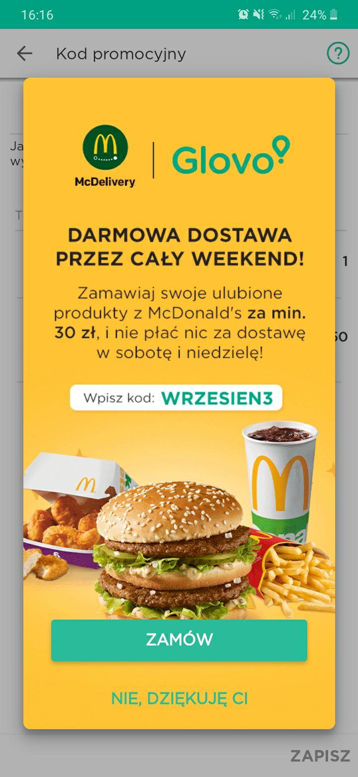"""Glovo - Darmowa dostawa w McDonald's z kodem """"WRZESIEN3"""". MWZ 30 ZŁ."""