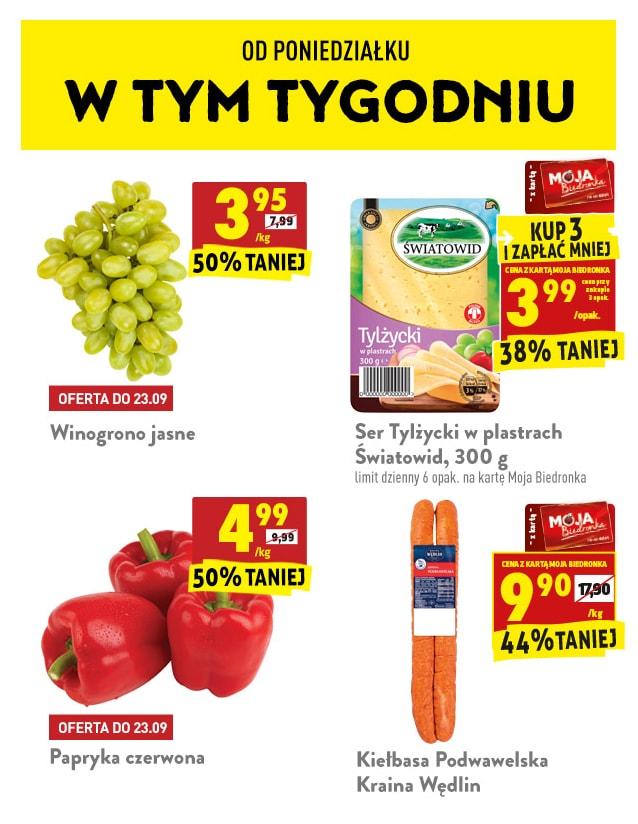 Promocje od 21.09 Kawy Tchibo bez VAT, Winogrona, Papryka, Kiełbasa Podwawelska - Biedronka