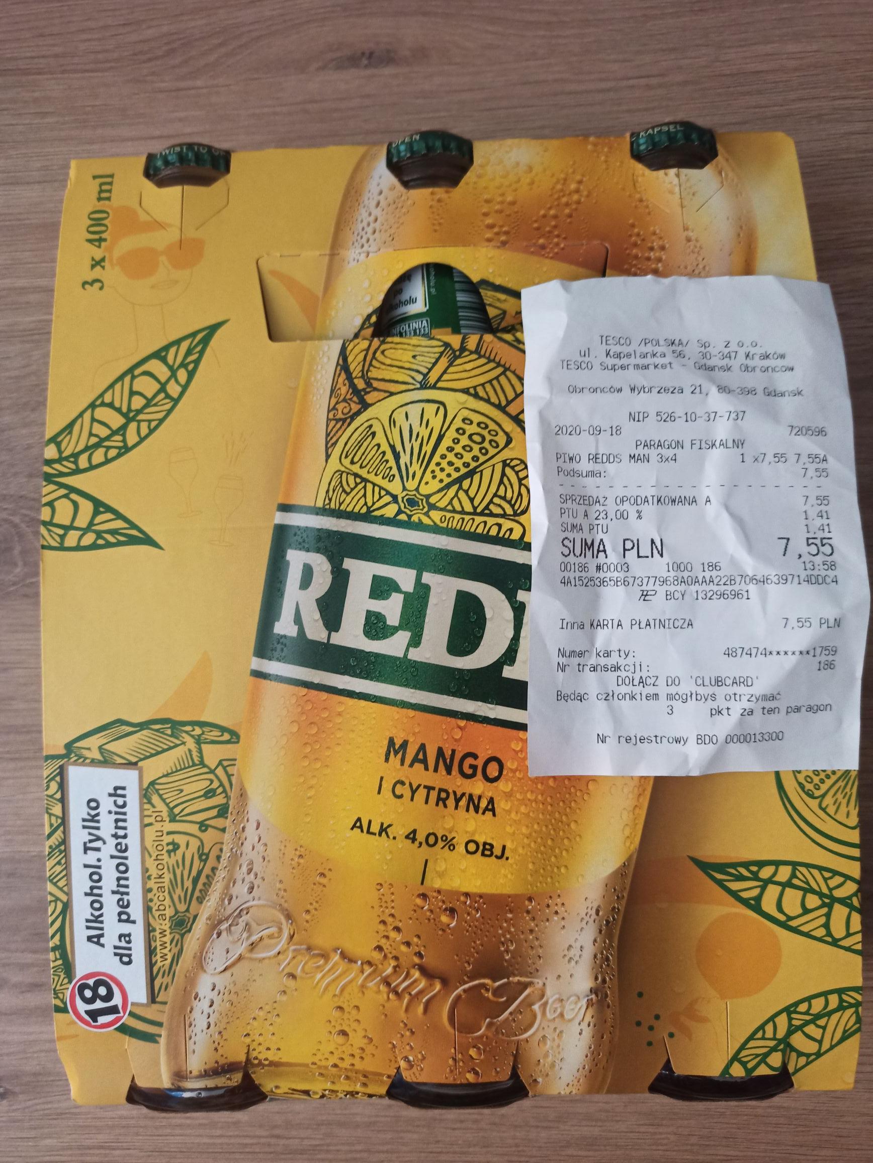 3x400 ml Redd's mango i cytryna, żurawina, jabłko