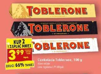 Czekolada Toblerone 100g różne rodzaje przy zakupie 2 szt. @Biedronka