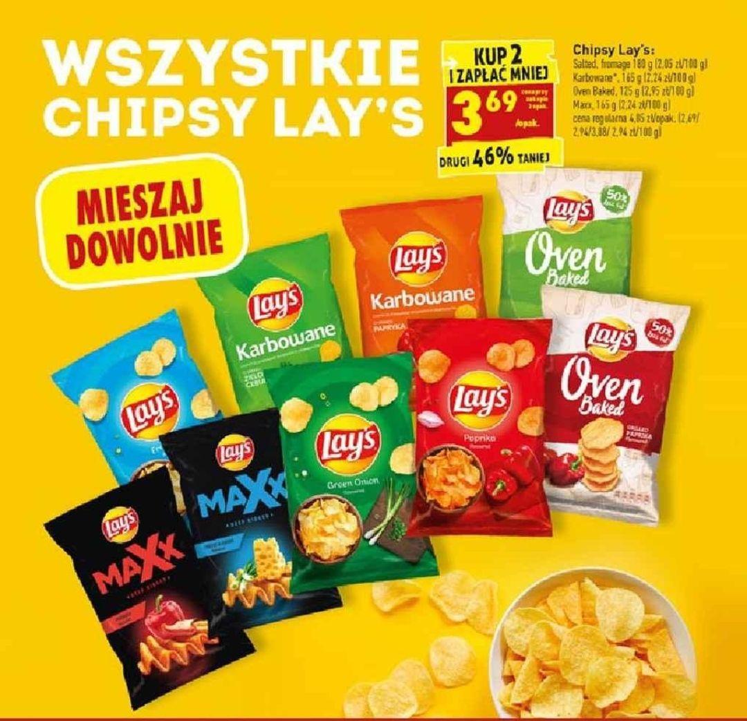 Wszystkie Chipsy Lays 125-180g za 3.69zl przy zak 2 - Biedronka