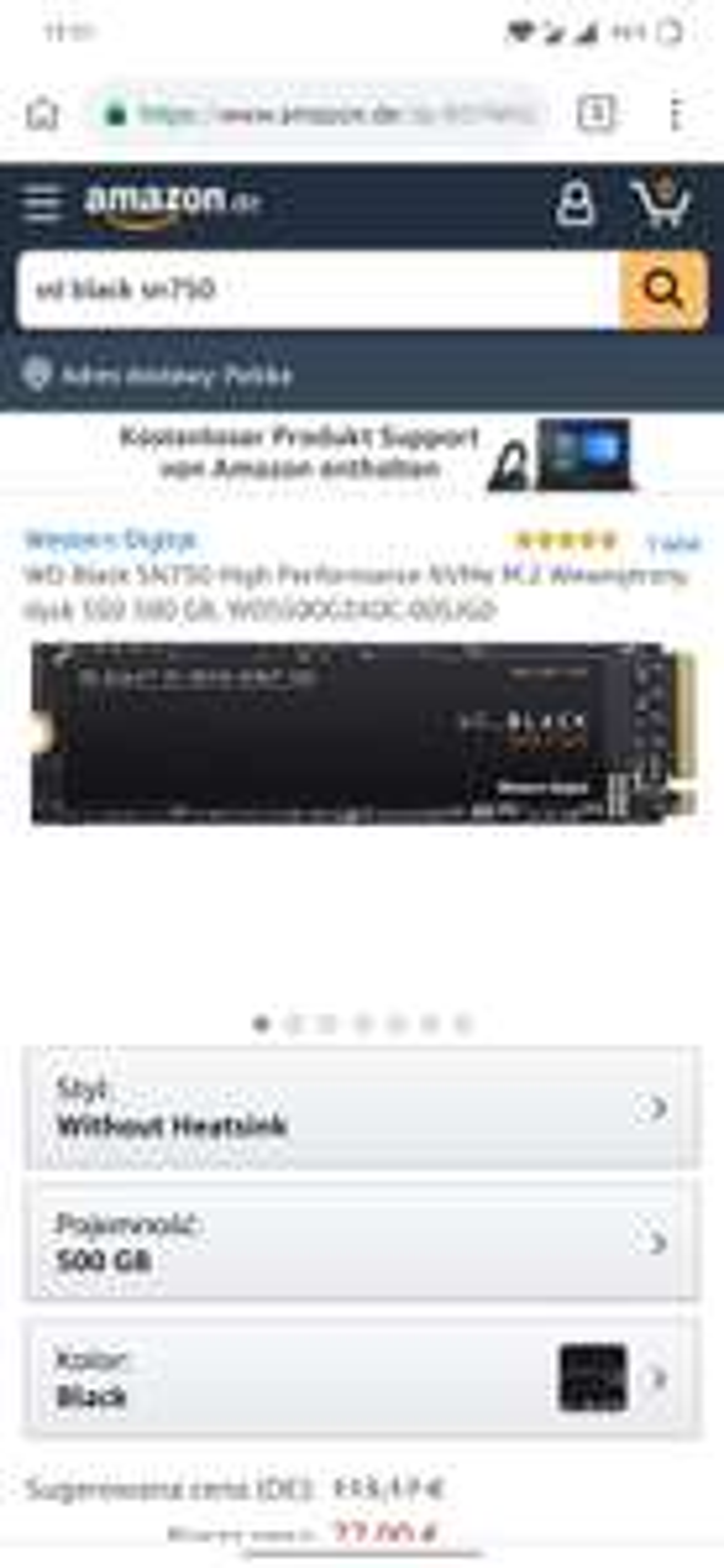 WD_BLACK SN750 NVMe™ SSD 500gb 82 euro