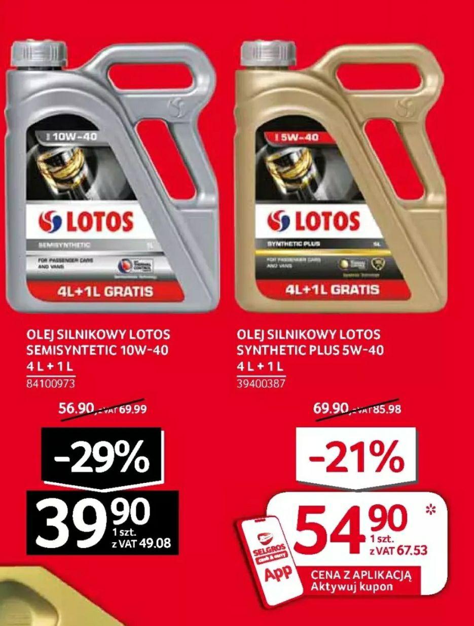 Tanie i dobre oleje Lotos 5w40 i 10w40 Selgros