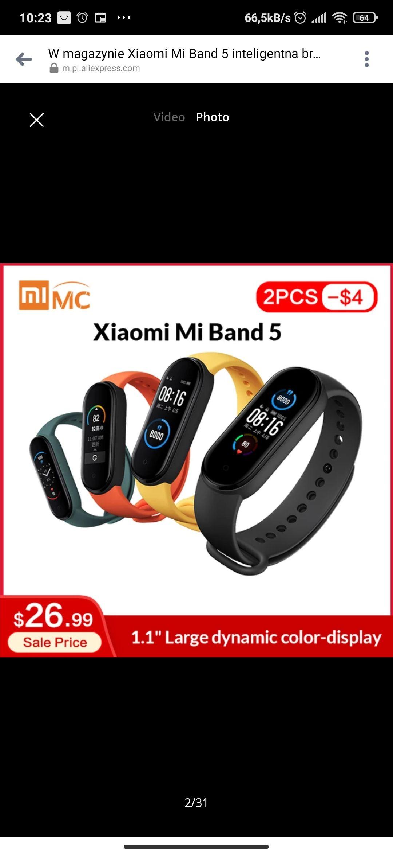 Mi band 5 Xiaomi , wysyłka z Chin @ Aliexpress