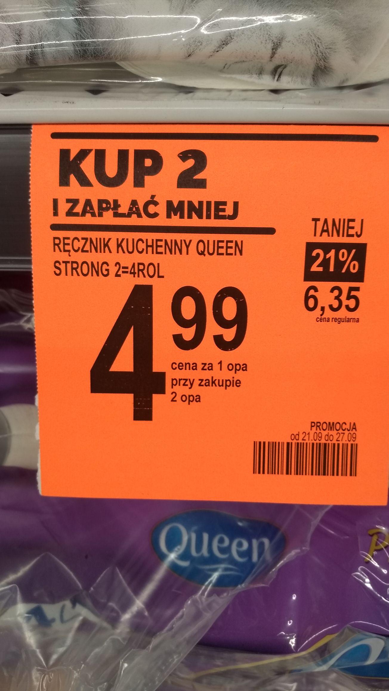 Ręcznik kuchenny Queen Strong 2=4ROL, cena przy zakupie dwóch w Biedronka