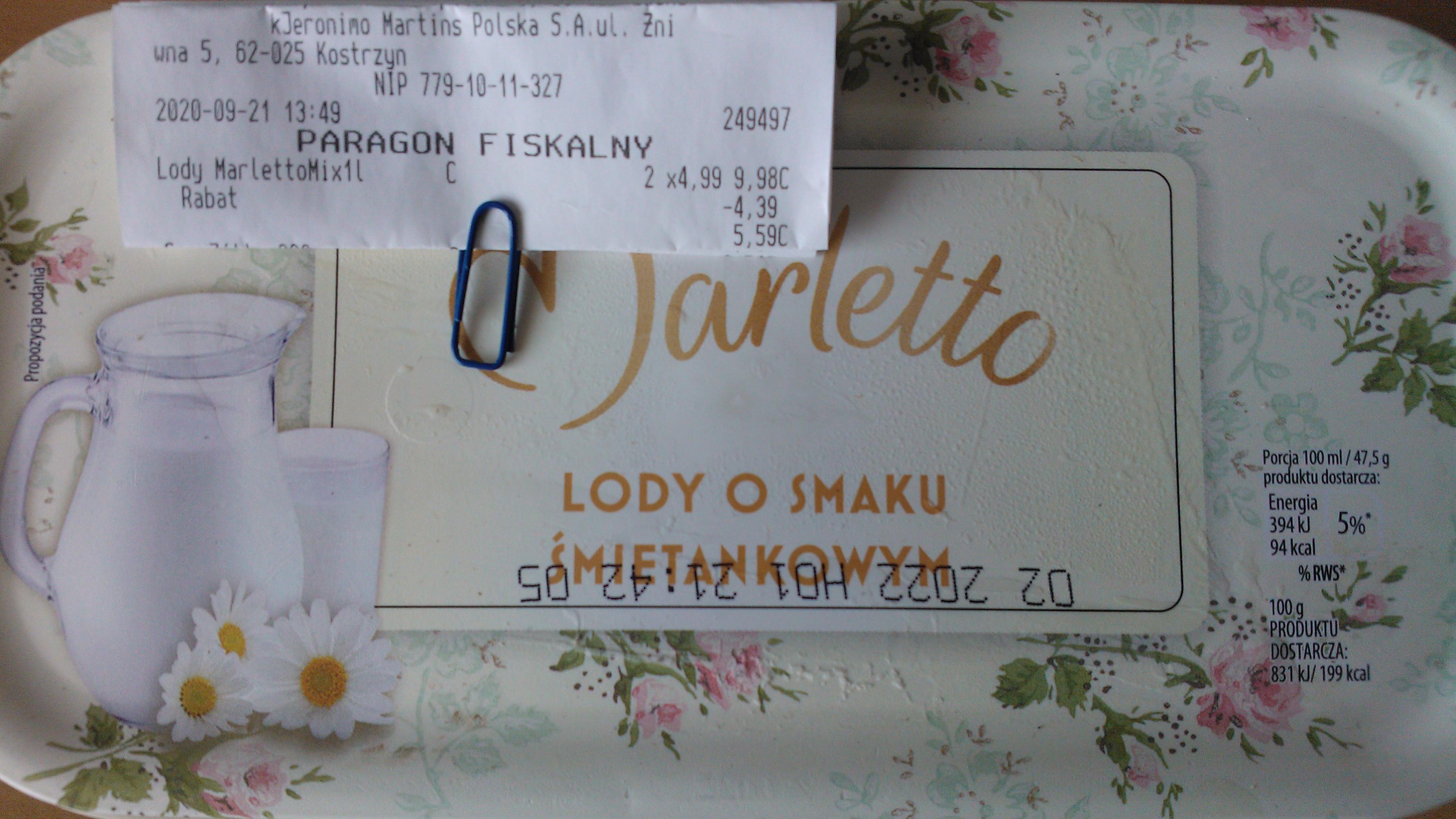 lody Marletto mix 1L 2,795zł/opak. przy 2szt. Biedronka