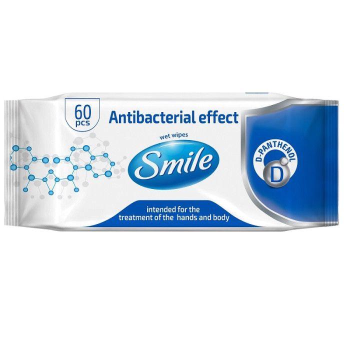 SMILE CHUSTECZKI NAWILŻANE ANTIBACTERIAL EFEKT Z D-PANTHENOLEM - 60 sztuk