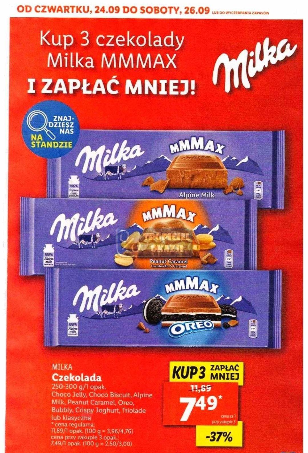 Kup 3 czekolady Milka i zapłać 7.49zł/szt - Lidl