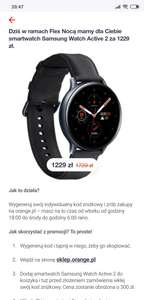 Flex nocą Samsung Watch Active 2