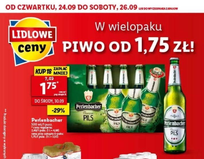 Piwo Perlenbacher 500ml przy zakupie 18 sztuk. Lidl