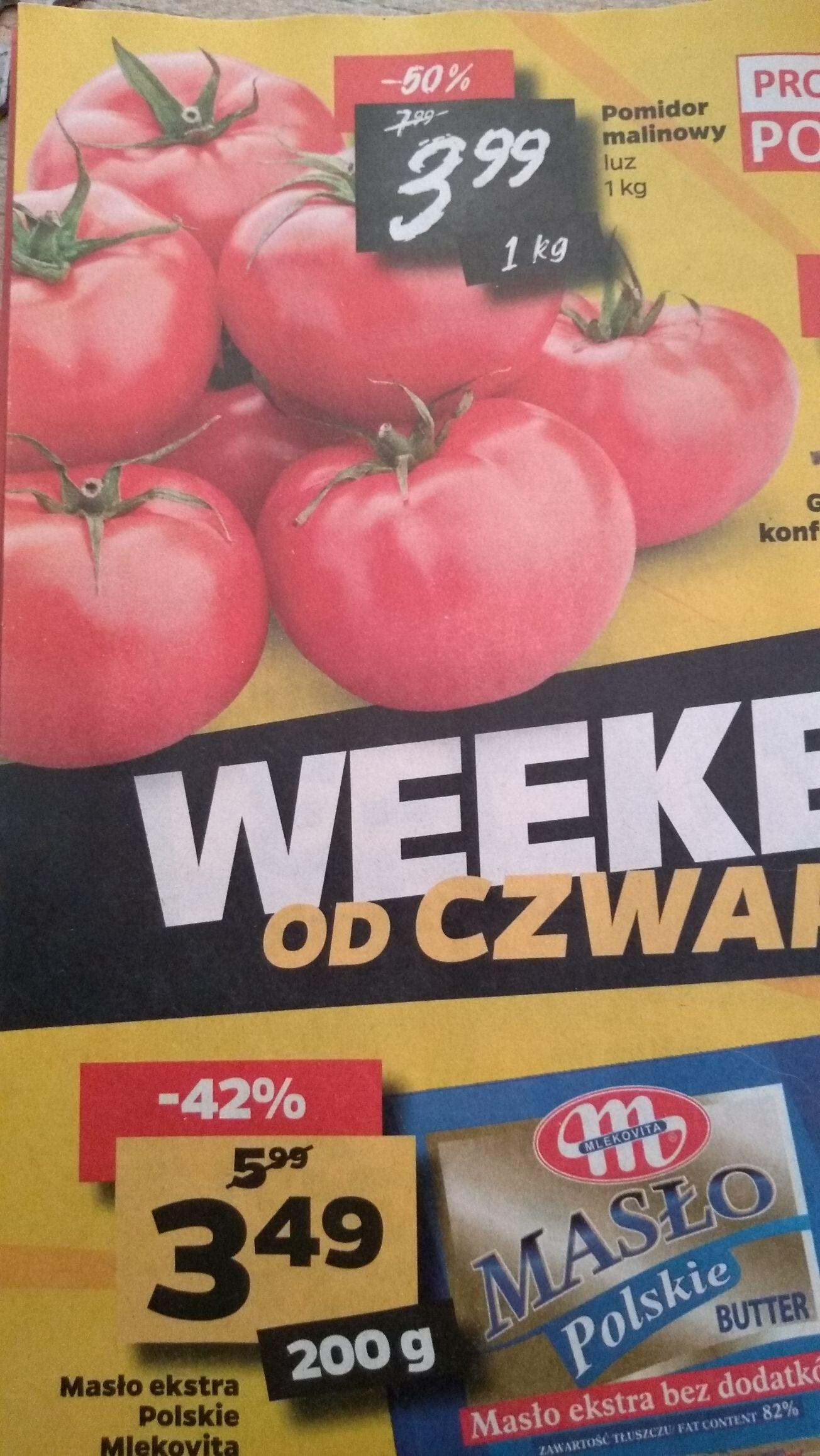 Pomidory malinowe i papryka czerwona w Netto