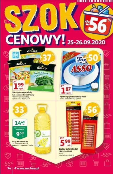 Warzywa na patelnie Daucy 400g|Ręcznik papierowy Foxy Asso 1,87 zł/2rol./opak.|Olej uniwersalny 3l 9,59 zł @Auchan