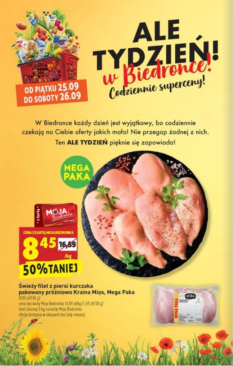 Filet z piersi kurczaka Mega Paka 8.45 zł/kg (25-26.09) i inne promocje od 24.09 - Biedronka