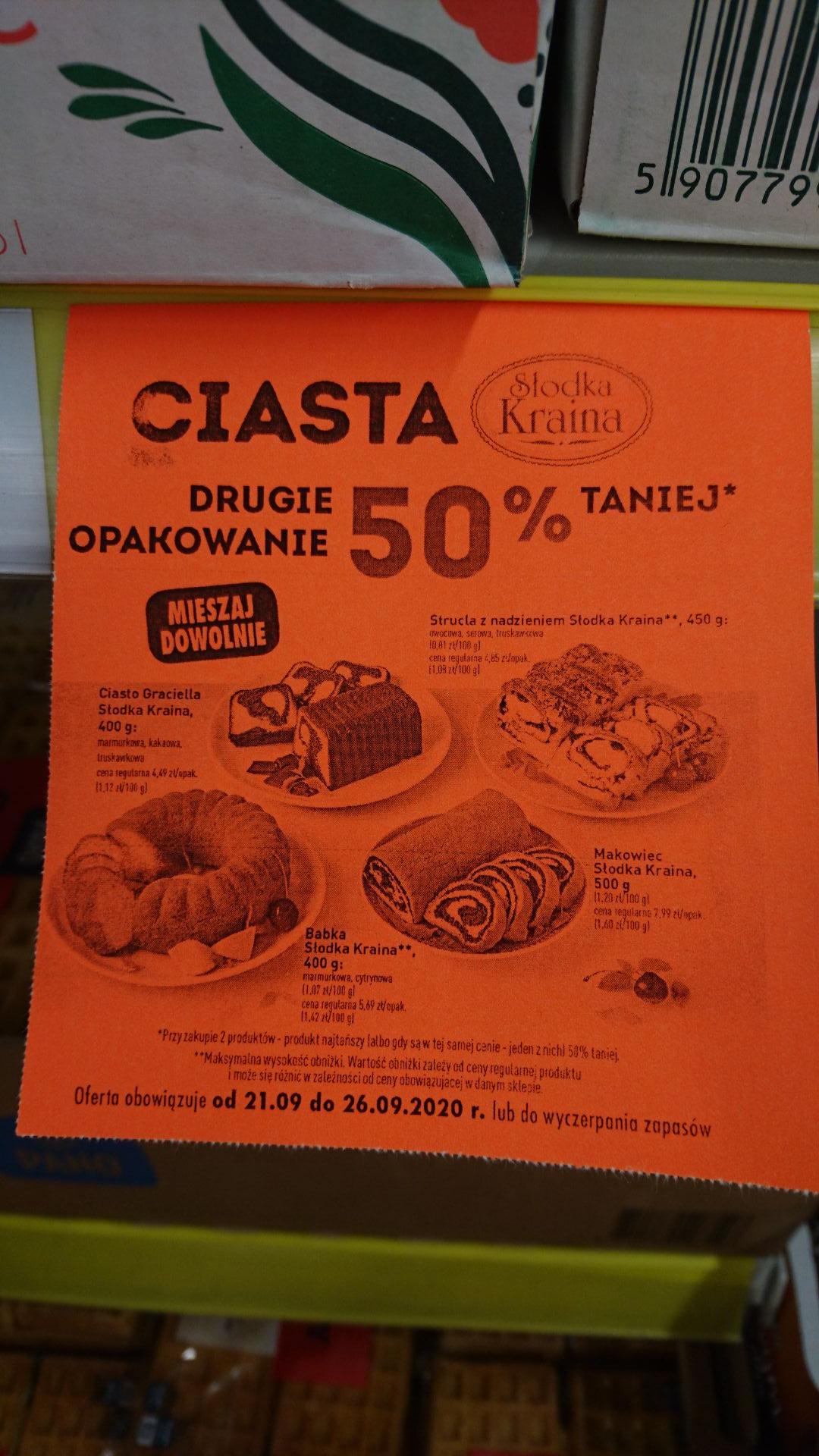 Ciasta Słodka Kraina drugie opakowanie 50% taniej