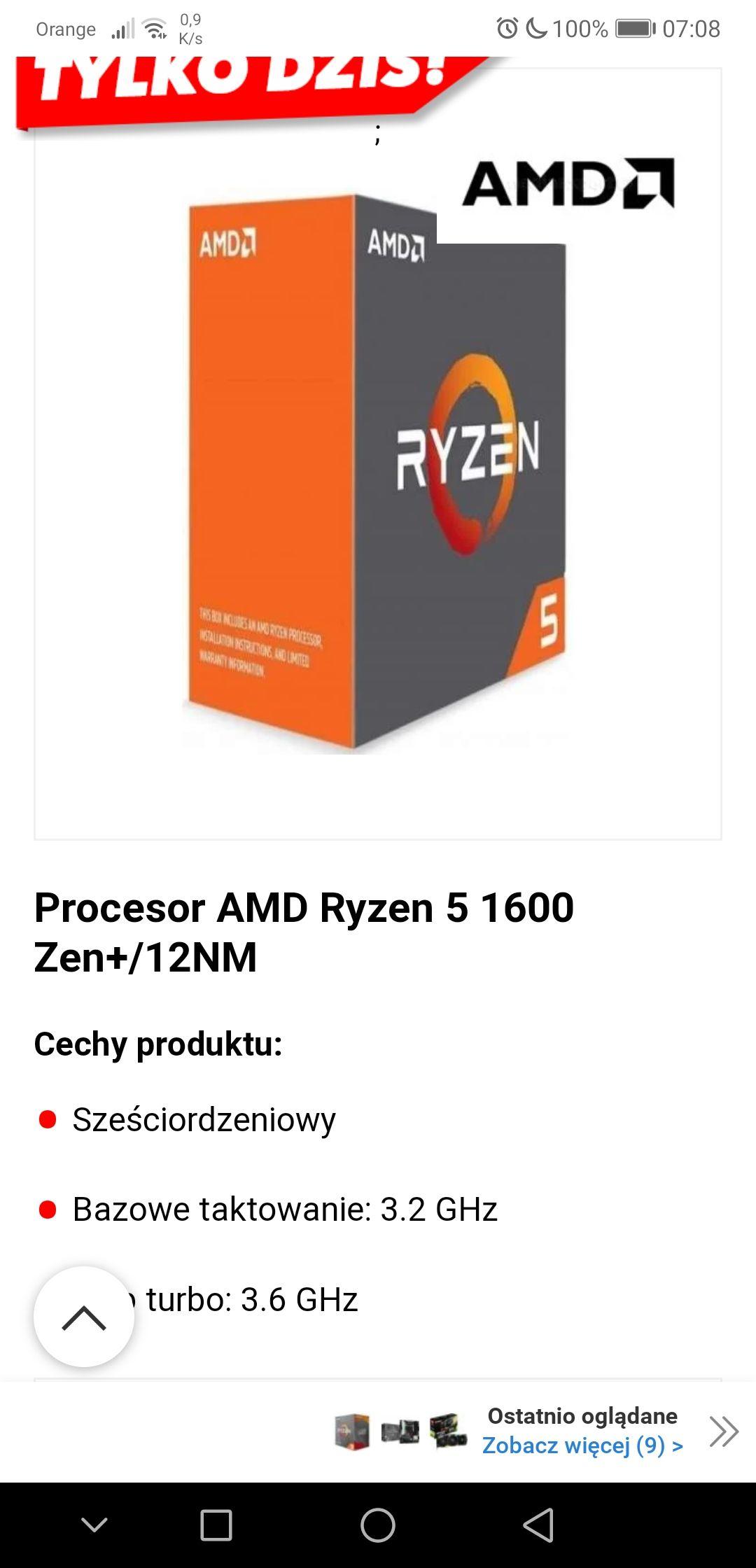 Procesor AMD Ryzen 5 1600 Zen+/12NM