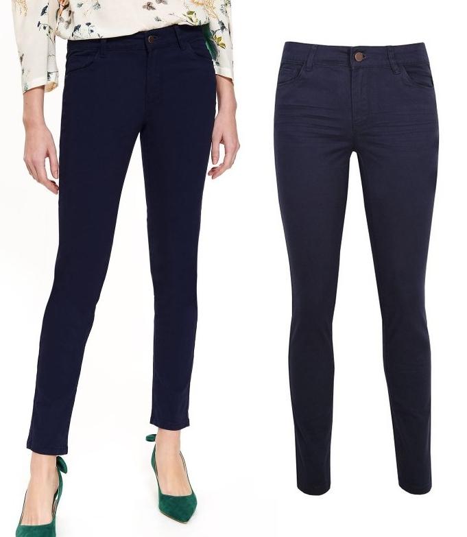 Tkaninowe spodnie damskie - granatowe - w @TopSecret r. XS-L