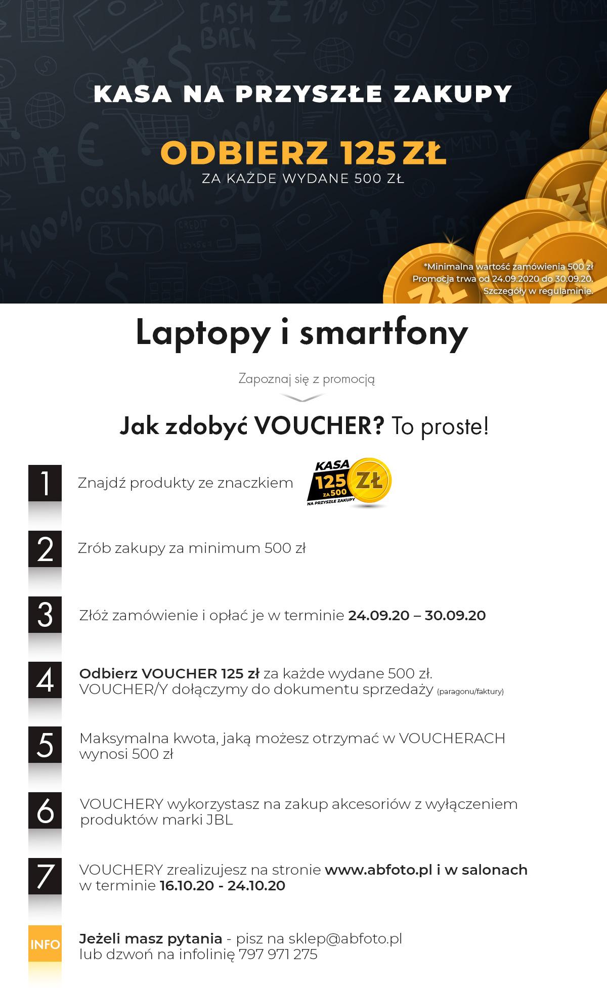 ABFoto.pl voucher 125zł za każde wydane 500zł. Max zwrot 500zł do wykorzystania na akcesoria foto, it, GSM, RTV, audio