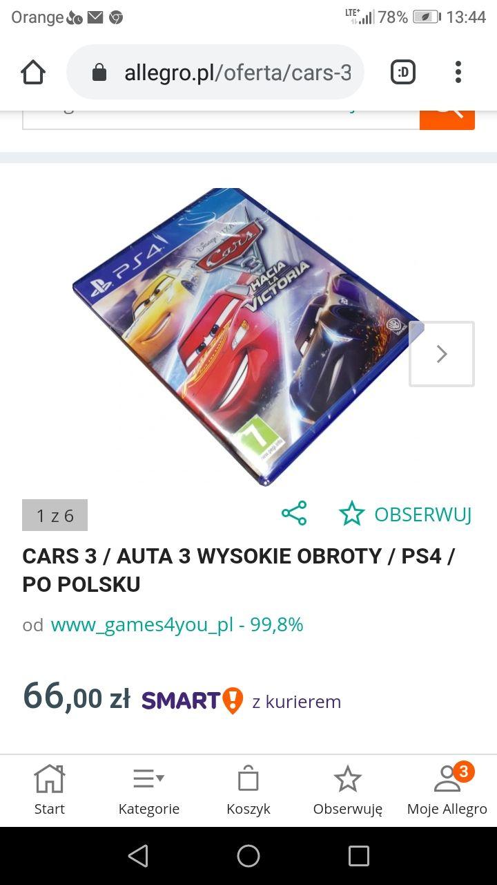 AUTA 3 WYSOKIE OBROTY PS4