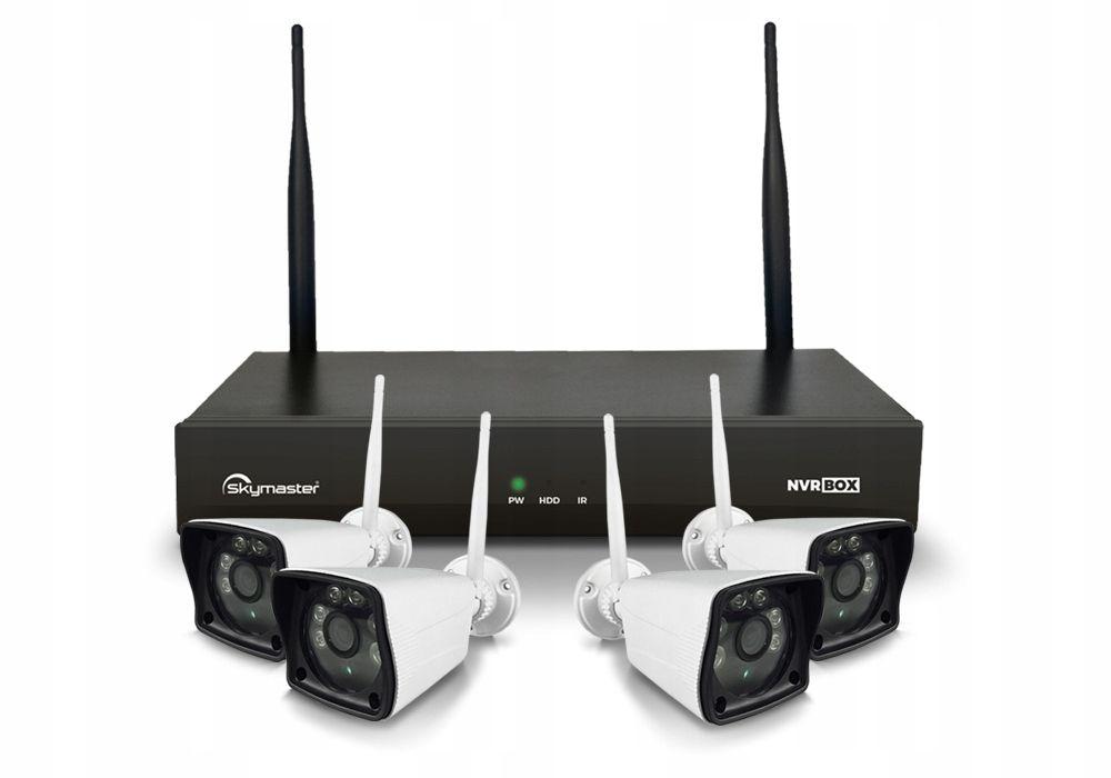 Zestaw Skymaster NVR BOX 4xCam WiFi System monitoringu- centrala plus 4 kamery zewnętrzne. Łączność bezprzewodowa.
