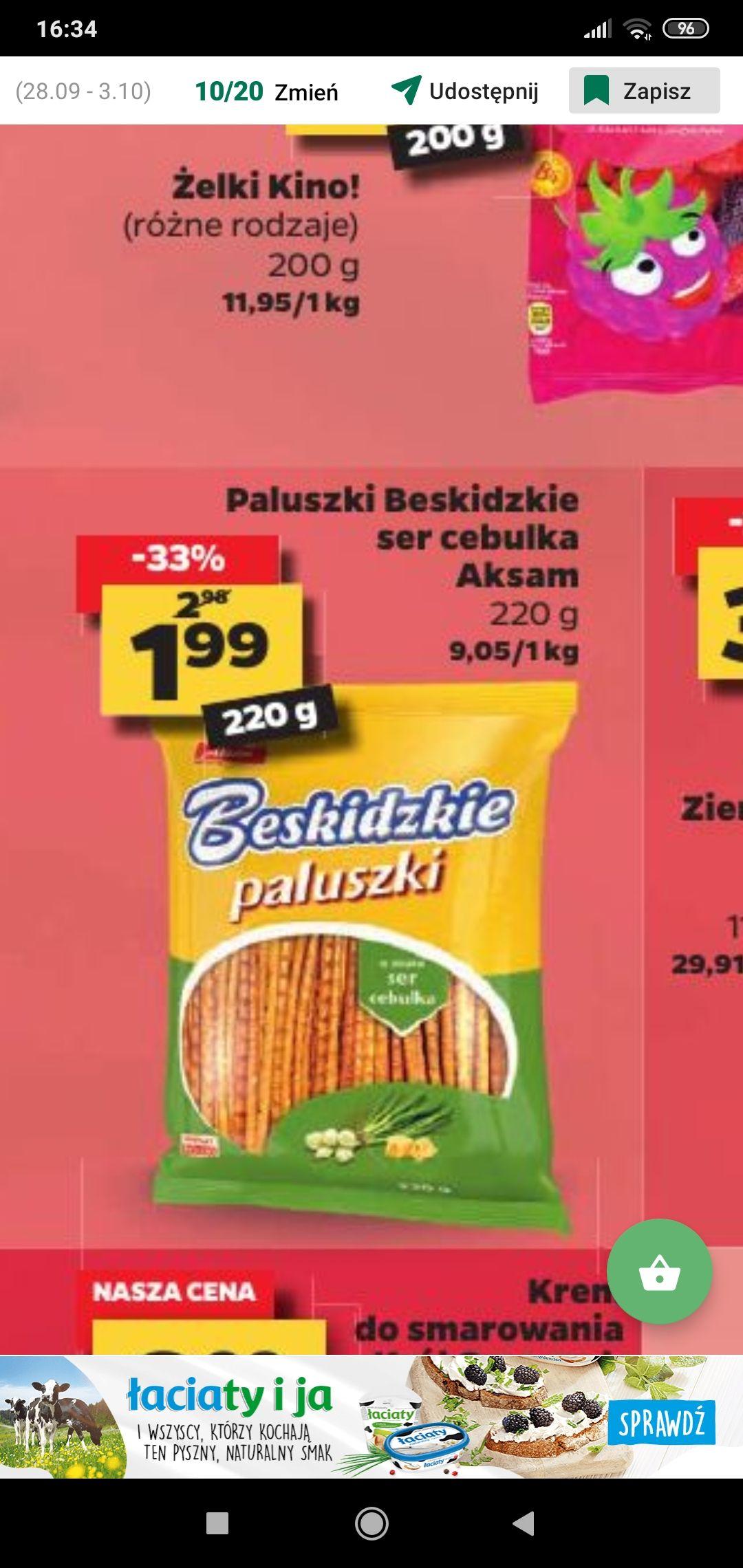 Paluszki Beskidzkie ser-cebula 220g