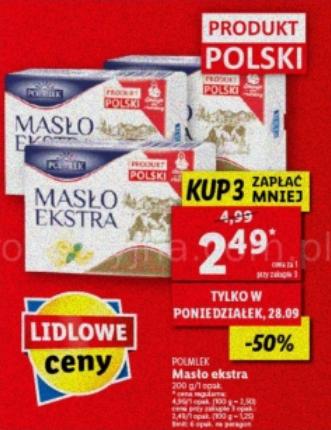 Masło Extra Polmlek 200g przy zakupie 3 szt. Lidl