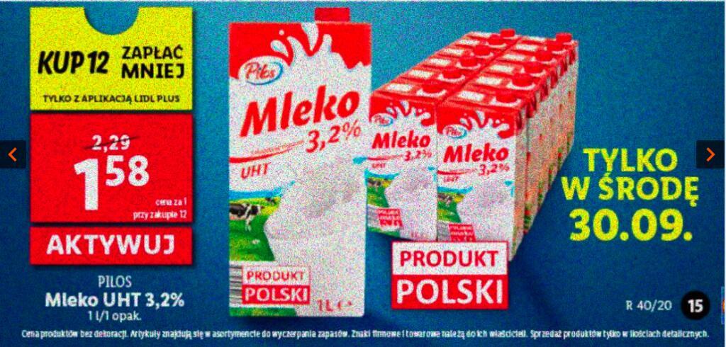 Mleko UHT 3,2% Pilos przy zakupie 12 z aplikacją Lidl Plus
