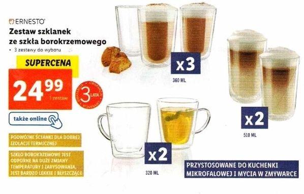 Zestaw 3 szklanek termicznych 360 ml z podwójnymi ściankami ze szkła borokrzemowego i inne, 3 lata gwarancji - Lidl