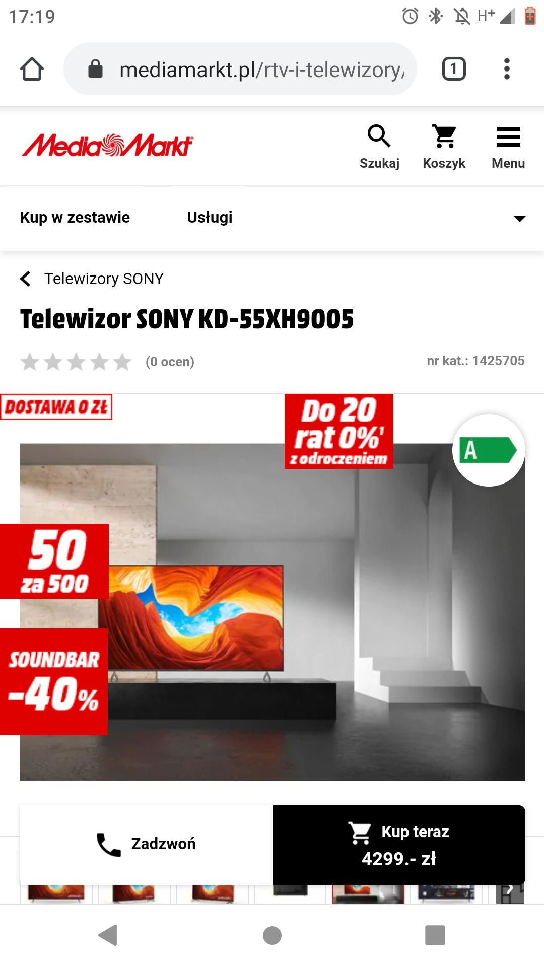 Sony 55xh9005 za 4299 + 400zl na karcie podarunkowej