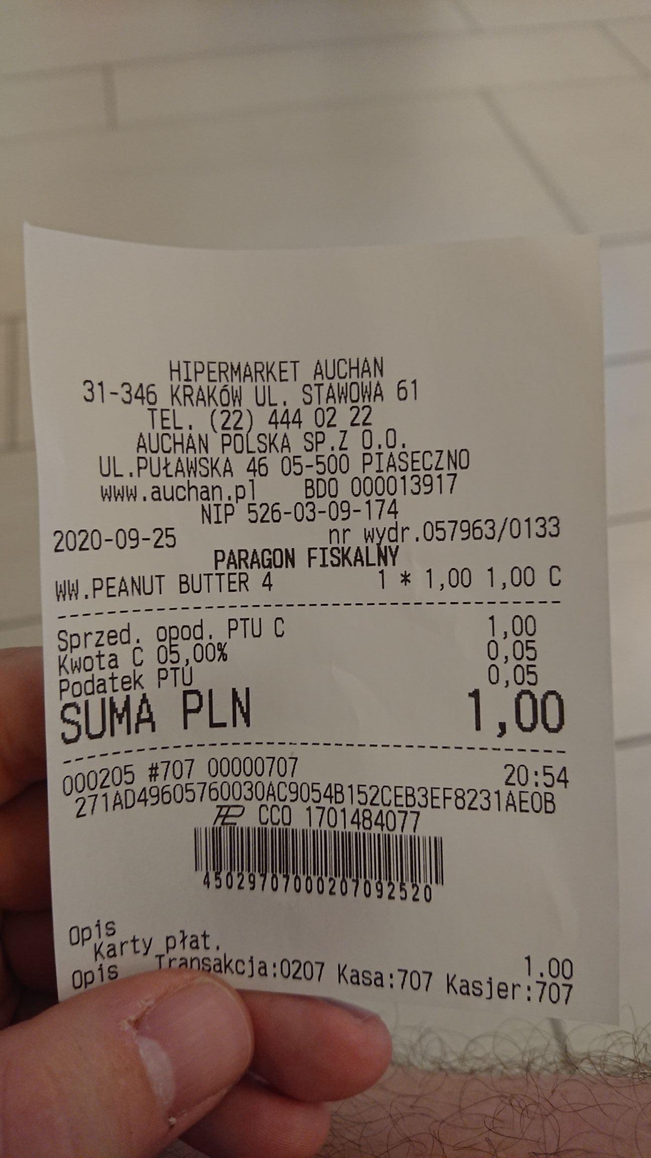 Auchan - Baton Wedel WW Peanut Butter za 1 zł