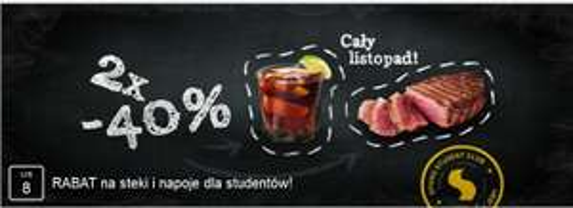 Oferta dla studentów: -40% na steki i napoje @ Sphinx