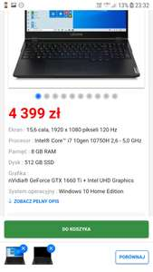 "Lenovo Legion 5 15IMH05H 15,6"" 120Hz Intel® Core™ i7-10750H - 8GB RAM - 512GB Dysk - GXT1660Ti Grafika - Win10"