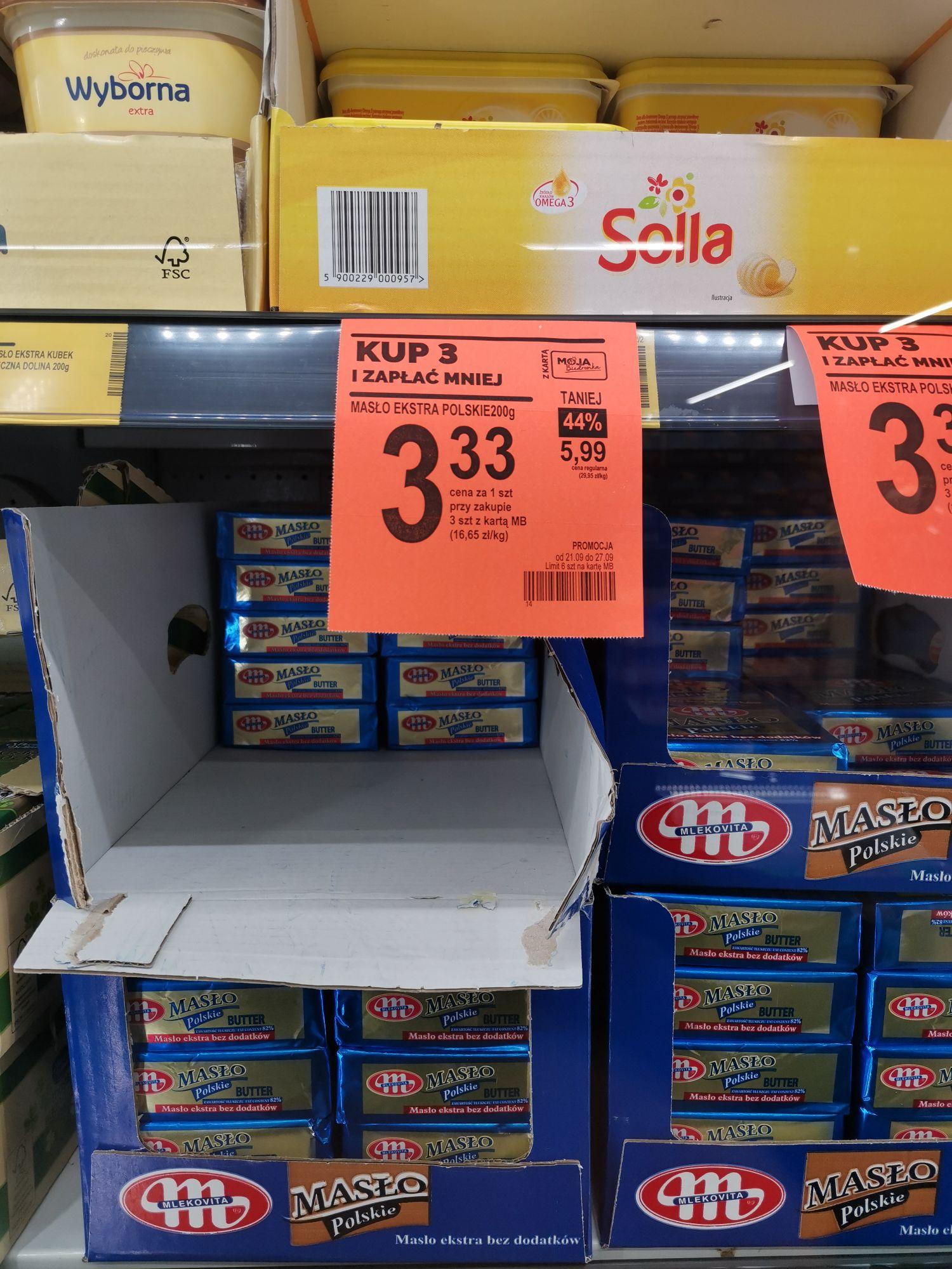 Masło za 3,33zł/szt przy zakupie 3 kostek