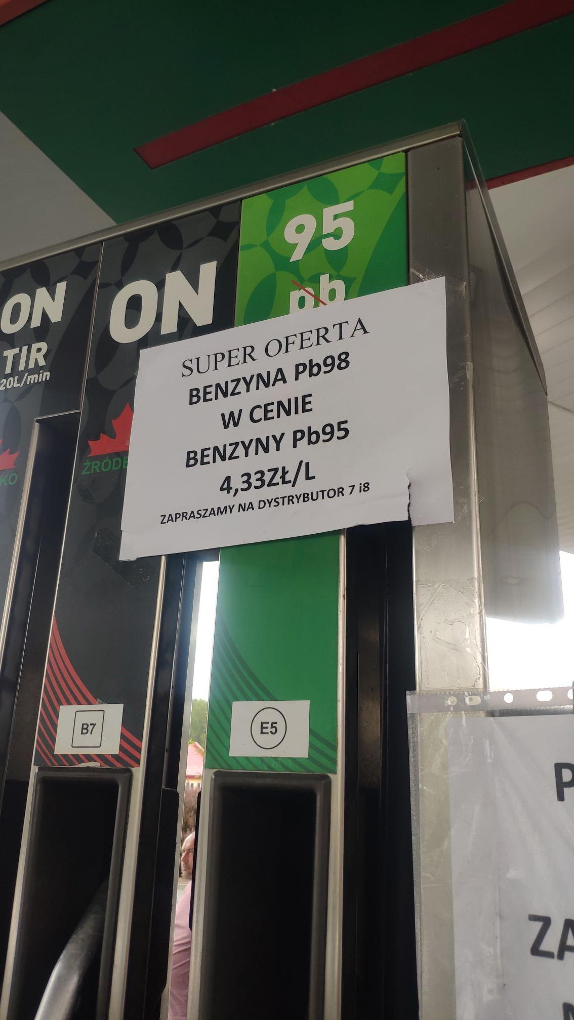Benzyna Pb98 w cenie Pb95